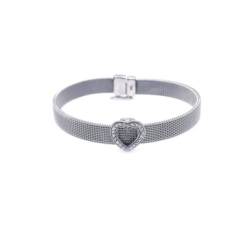 Sterling silver bracelet heart design cz stones products