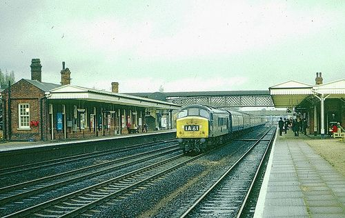 Loco 166 passing Welwyn Garden City with an up express in 1972 ...