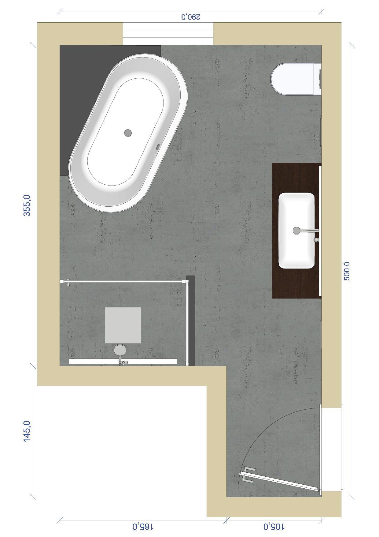 Badezimmer mit freistehender Badewanne hinten an eine Ablage grenzend