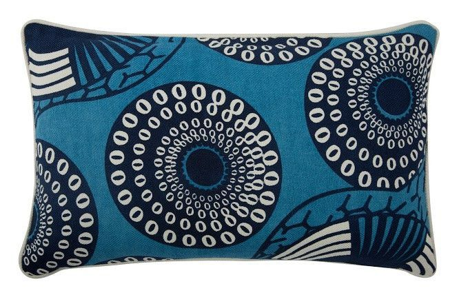 "Yinka 12"""" x 20"""" Reversible Pillow in Azure design by Thomas Paul"