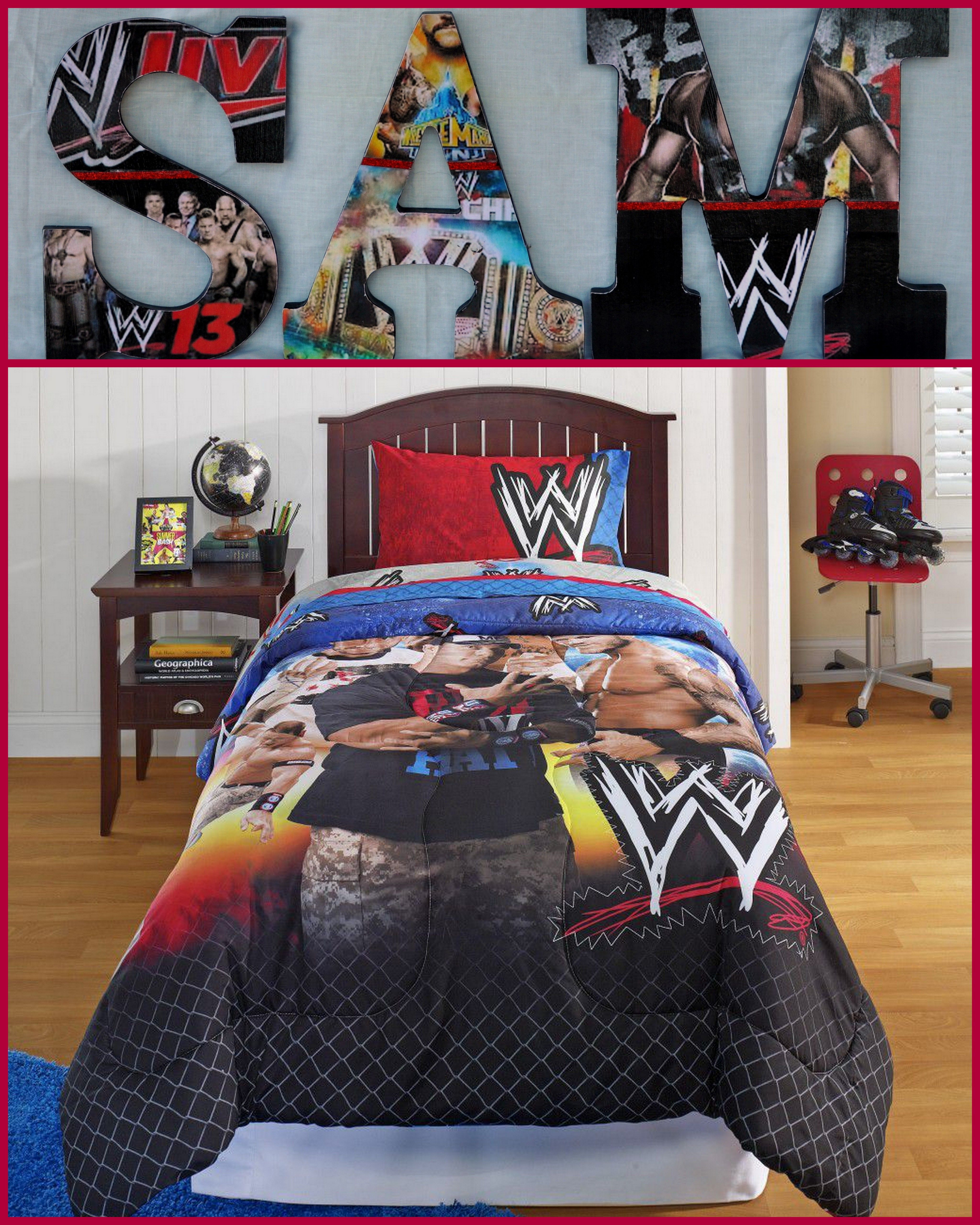 Pin By Www Facebook Com Annhenderson1 On Wooden Letters Customized Wwe Bedroom Wwe Bedroom Decor Boys Bedrooms