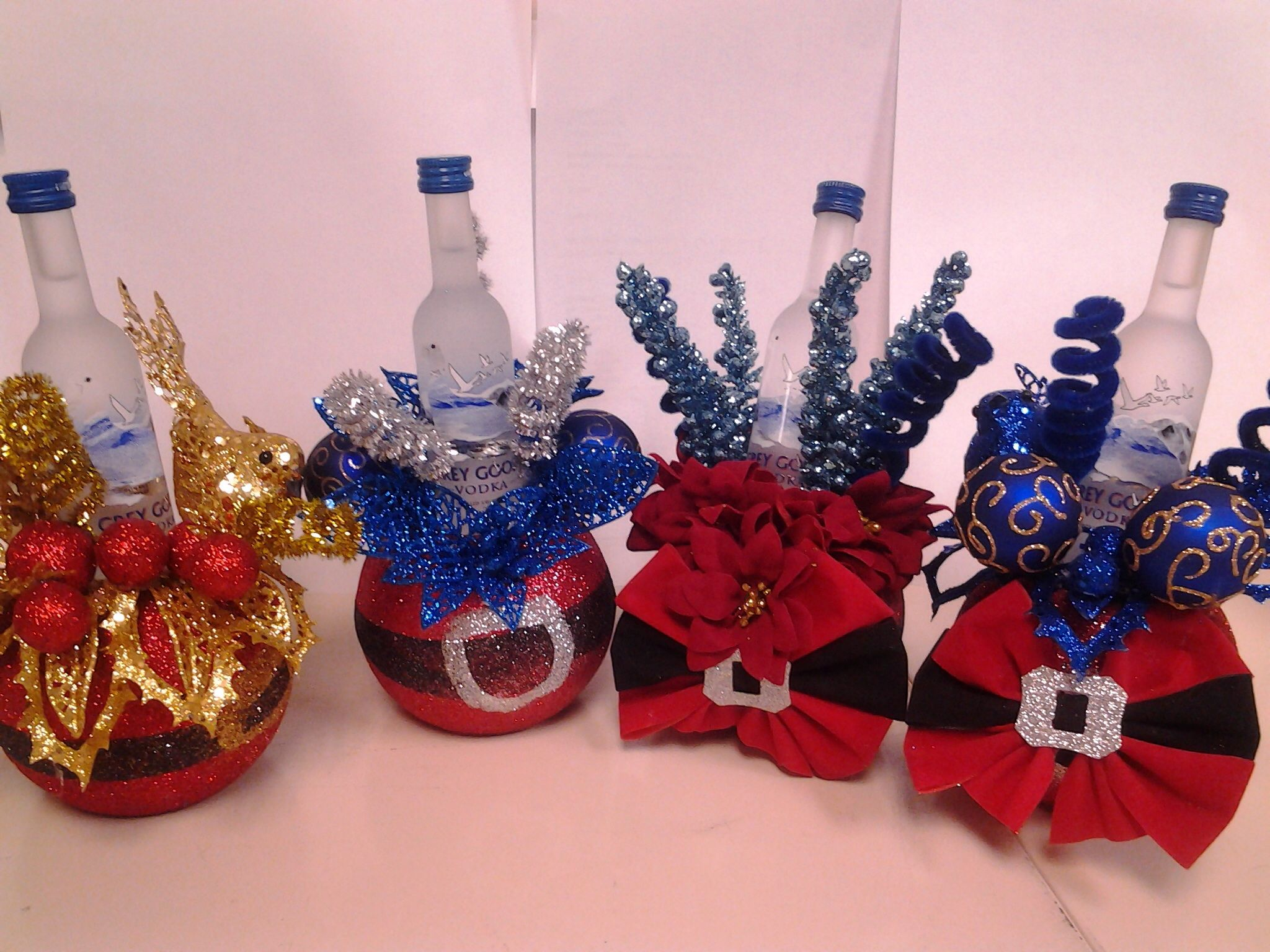 Mini grey goose holiday decorated as gift | Liquor gift ...