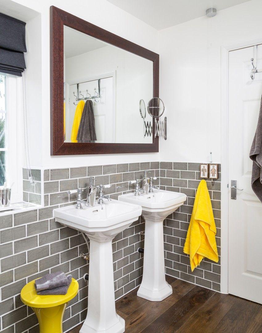 Szara łazienka z żółtymi akcesoriami - perfekcyjne połączenie :) | + ...