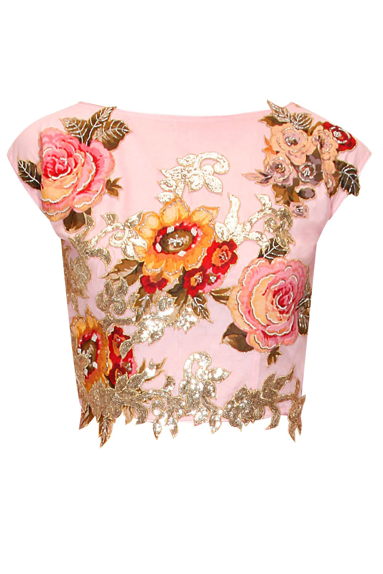 Pink floral applique work and beads embroidered crop top by Eshaani Jayaswal. Shop now: http://