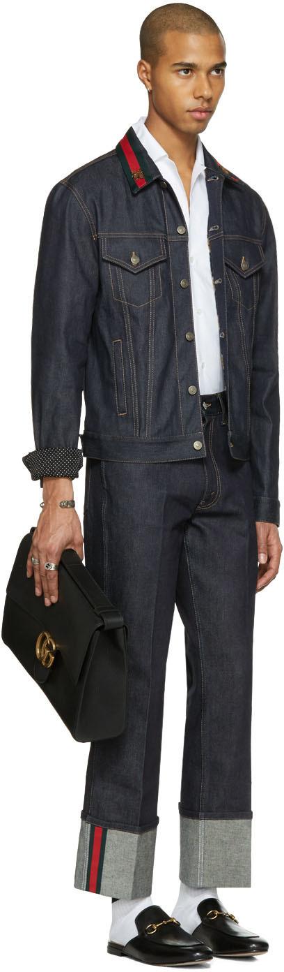 gucci blue denim bee jacket fa hion pinterest blue denim