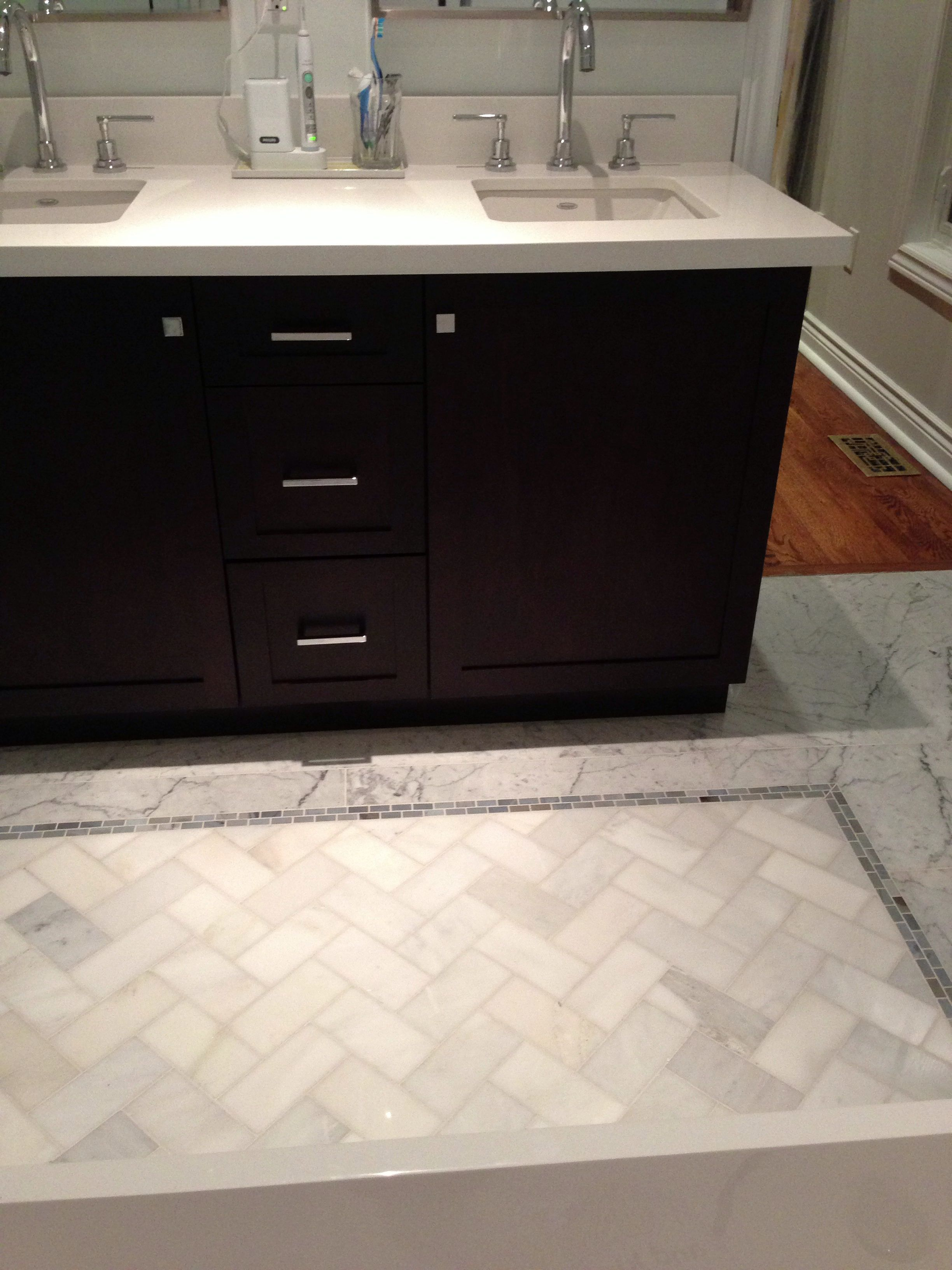 Floor Tile Rug From Carrera 3x6 In Herringbone Pattern And 1x2