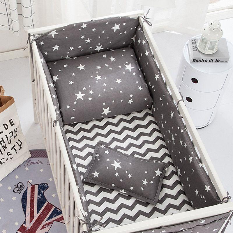 Baby Bedding Set Bumpers Cotton Cartoon Print Soft Baby Bed Sheet Pillowcase Crib Hanging Bag Infant Cot Bumper Baby Bed Set Detskaya Krovatka Postelnye Prinadlezhnosti Detskoe Hraneniya