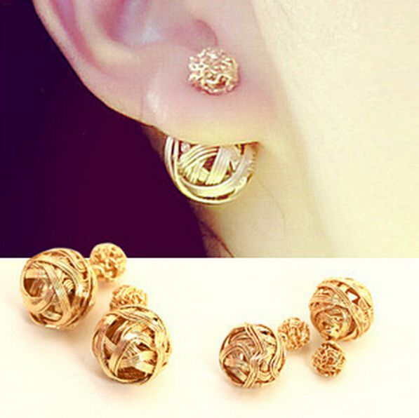 Hot Ing Two Gold Ball Stud Earrings Double Sides Pearl Earring For S Plated Jewelry