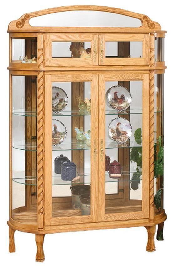 Amish Double Door Bonnet Top Curio Cabinet White Oak Wood White
