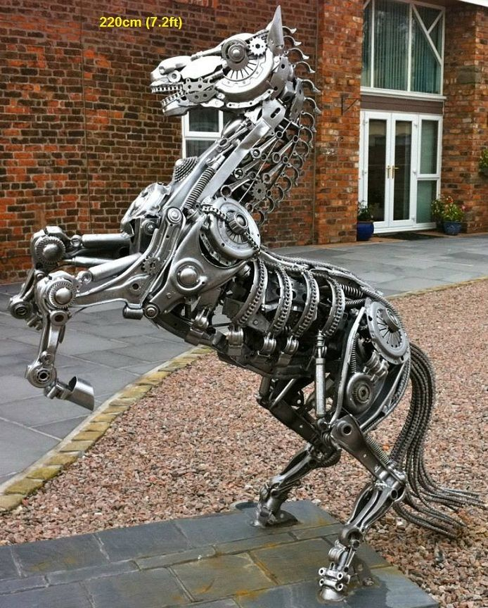Rearing Horse Statue Jumping Horse Life Size Scrap Metal Art For - Salvaged scrap metal transformed to create graceful kinetic steampunk sculptures