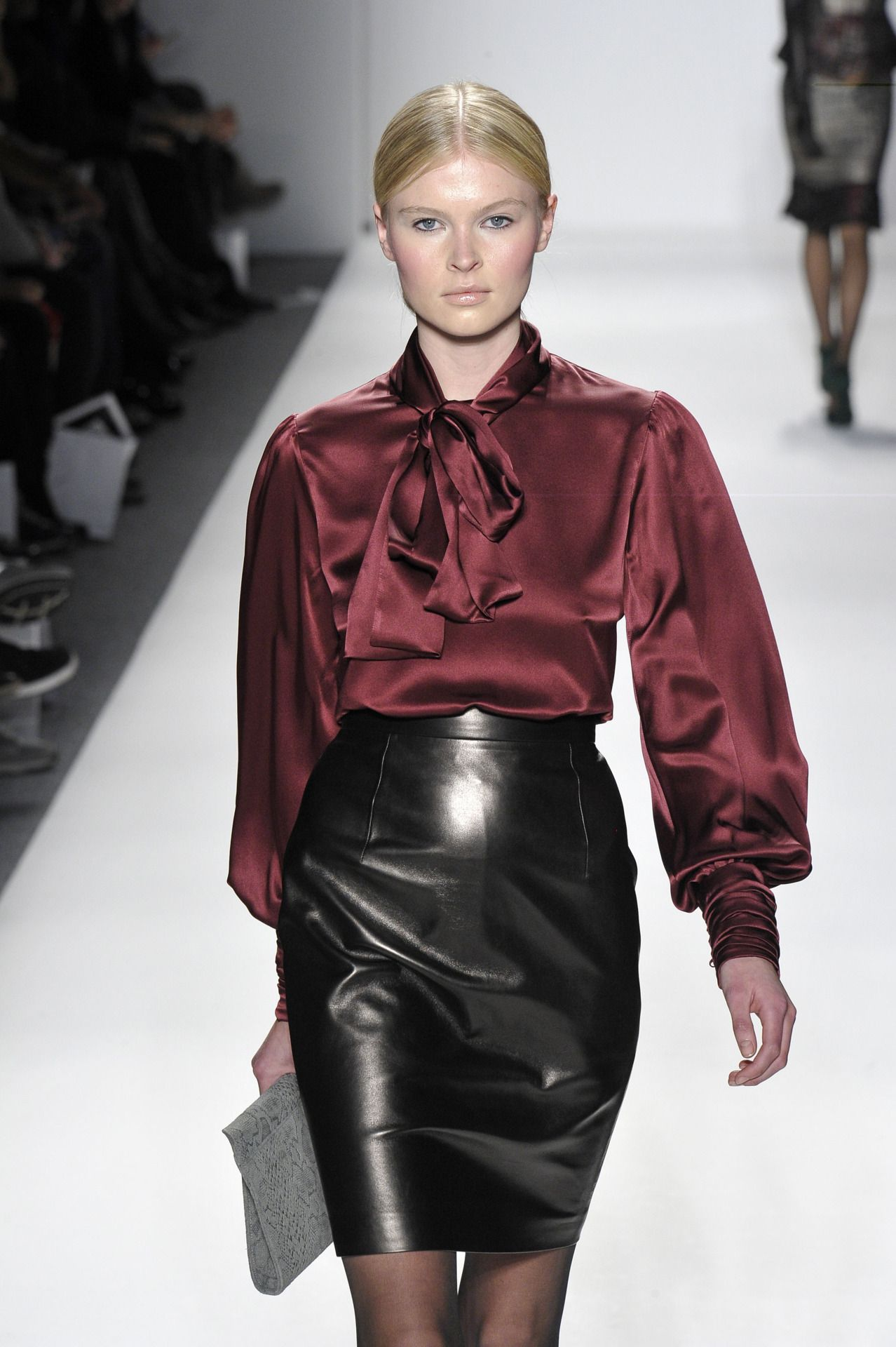 Elene Cassis bow blouse, leather pencil skirt. | Secretary Leather ...