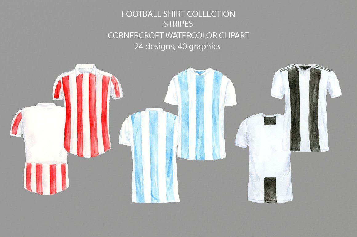 Striped Football Shirt Clipart Grey Blue Green White Shirt