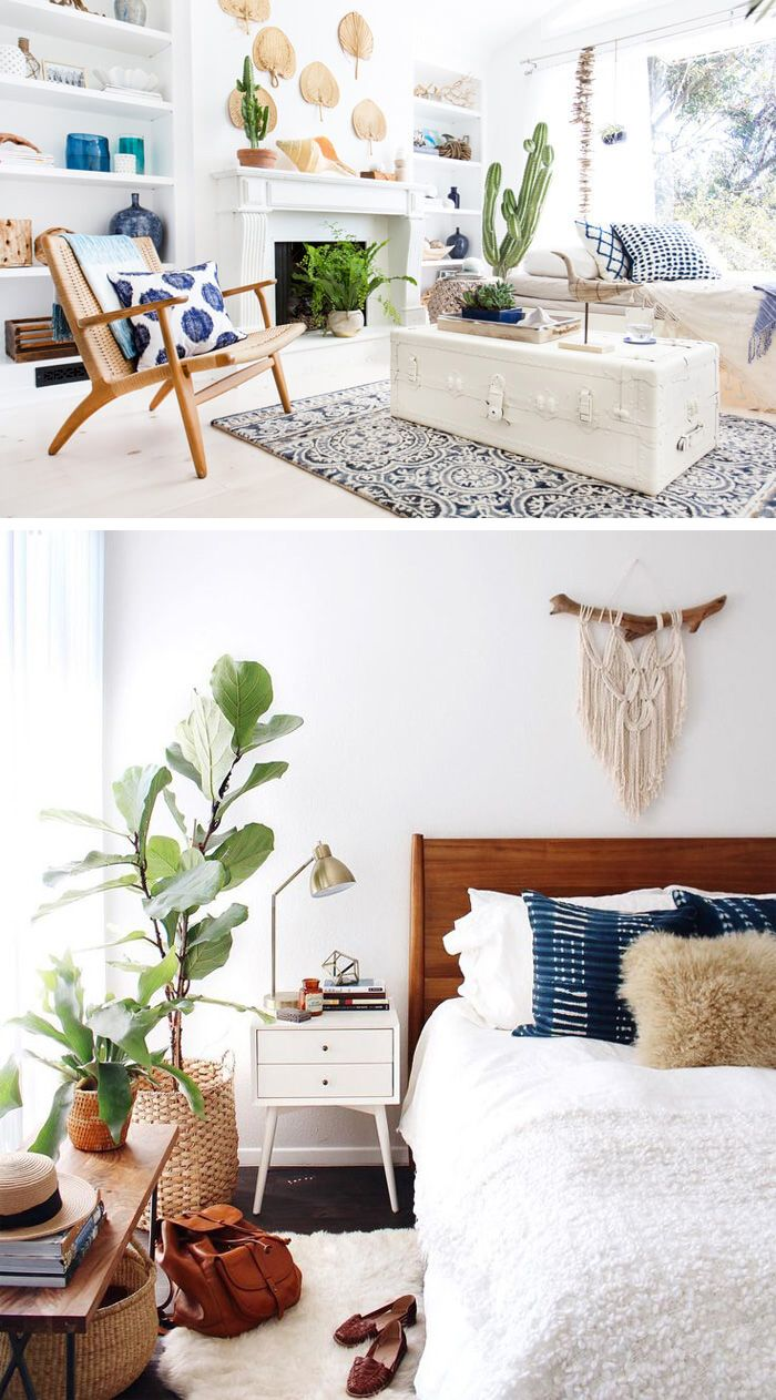 Get the boho chic look   32 bohemian interior design ideas   New     Stunning Bohemian designs focusing on a palette of blue  white and natural  materials with the items that will help you get this amazing look in your  home