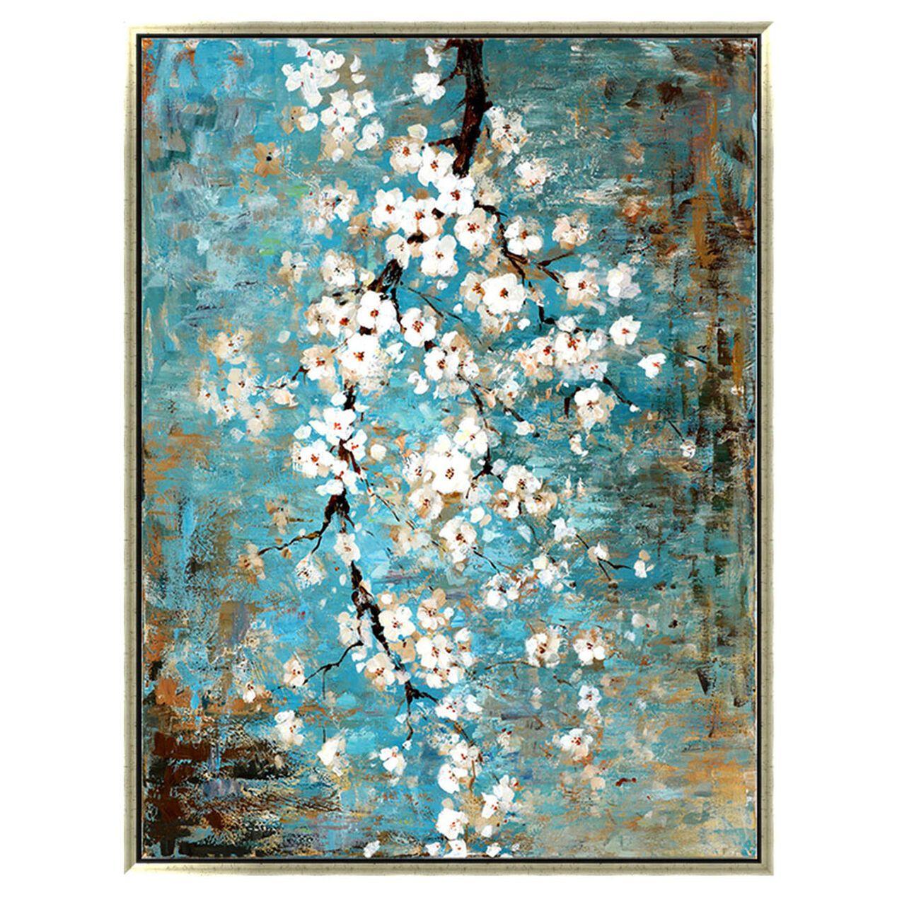 36x48 White Blossoms Enhanced Canvas Teal Wall Art Pretty Wall Art Gold Wall Art