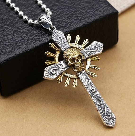 Jewel Tie Sterling Silver Antiqued Cross Pendant