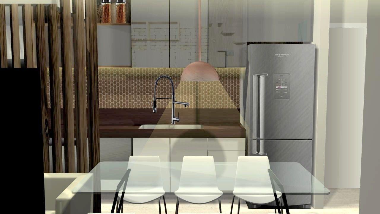 Cozinha Americana Com Divis Ria De Madeira Marcenaria Espelhada E  ~ Pastilha Cozinha Americana