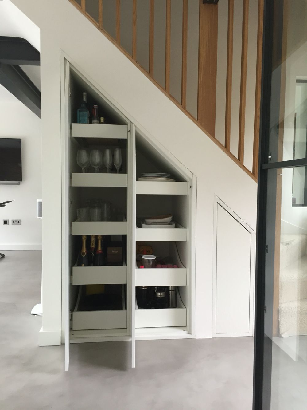 Under stair storage with deep 850mm draw runners