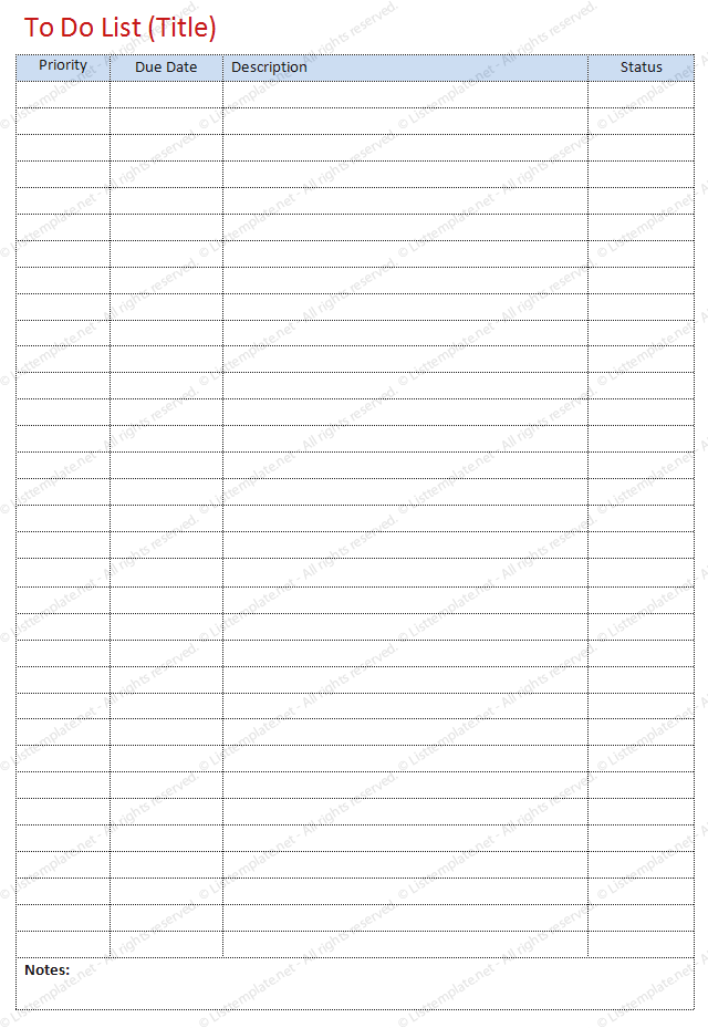 To Do List Template Simple Format  List Templates  Dotxes