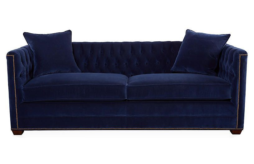 Navy Blue Velvet Sleeper Sofas Ames 86 Tufted Sofa Lapis