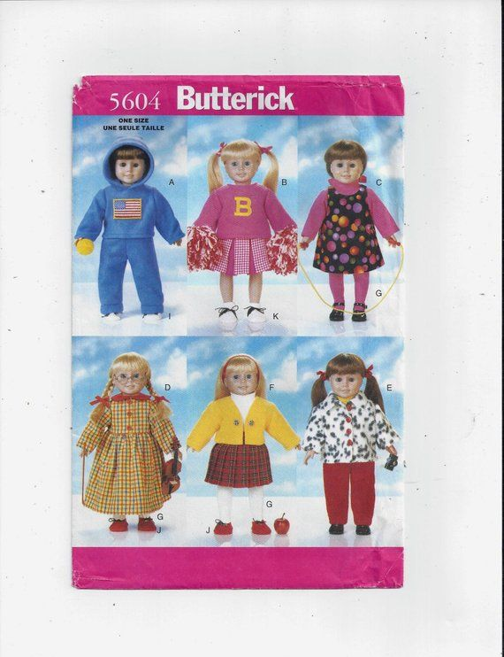 Butterick 5604 Pattern for 18 In. Back to School Doll Clothes Wardrobe, From 1998, FACTORY Folded, UNCUT, Home Sewing, Cheerleader, Shoes