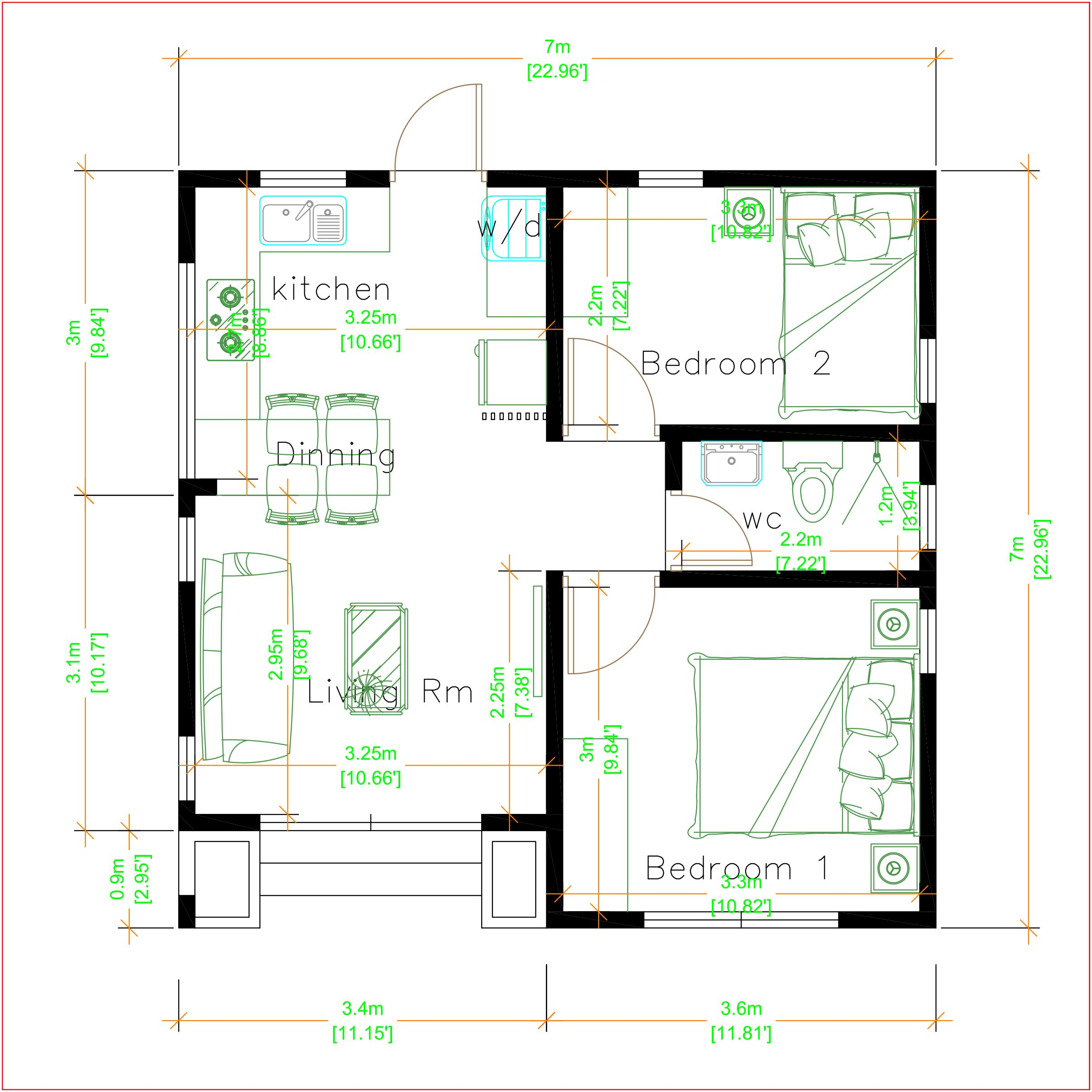 Small House Design 7x7 Meters 24x24 Feet House Plans S Modern Tiny House Small House Design Small House Design Plans