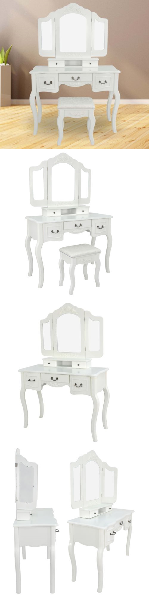 Vanities and makeup tables vintage ivory white vanity