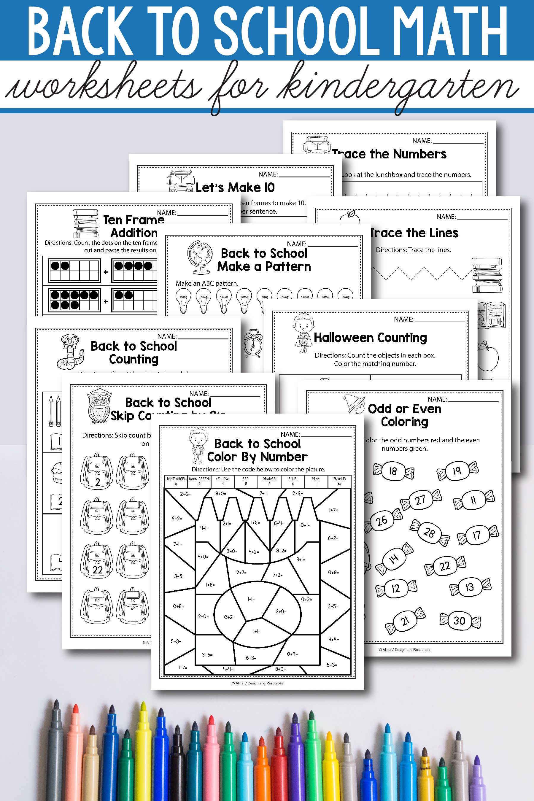 Back To School Math Activities For Kindergarten 1st Grade