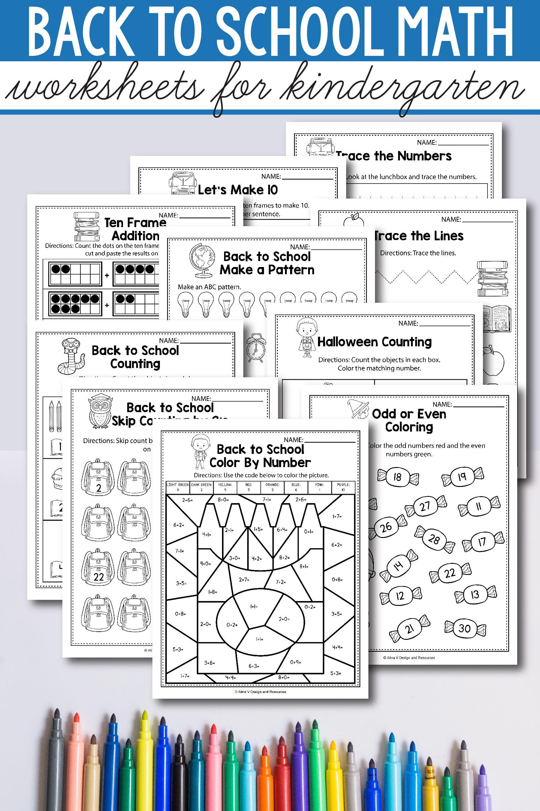 Back To School Math Activities For Kindergarten 1st Grade