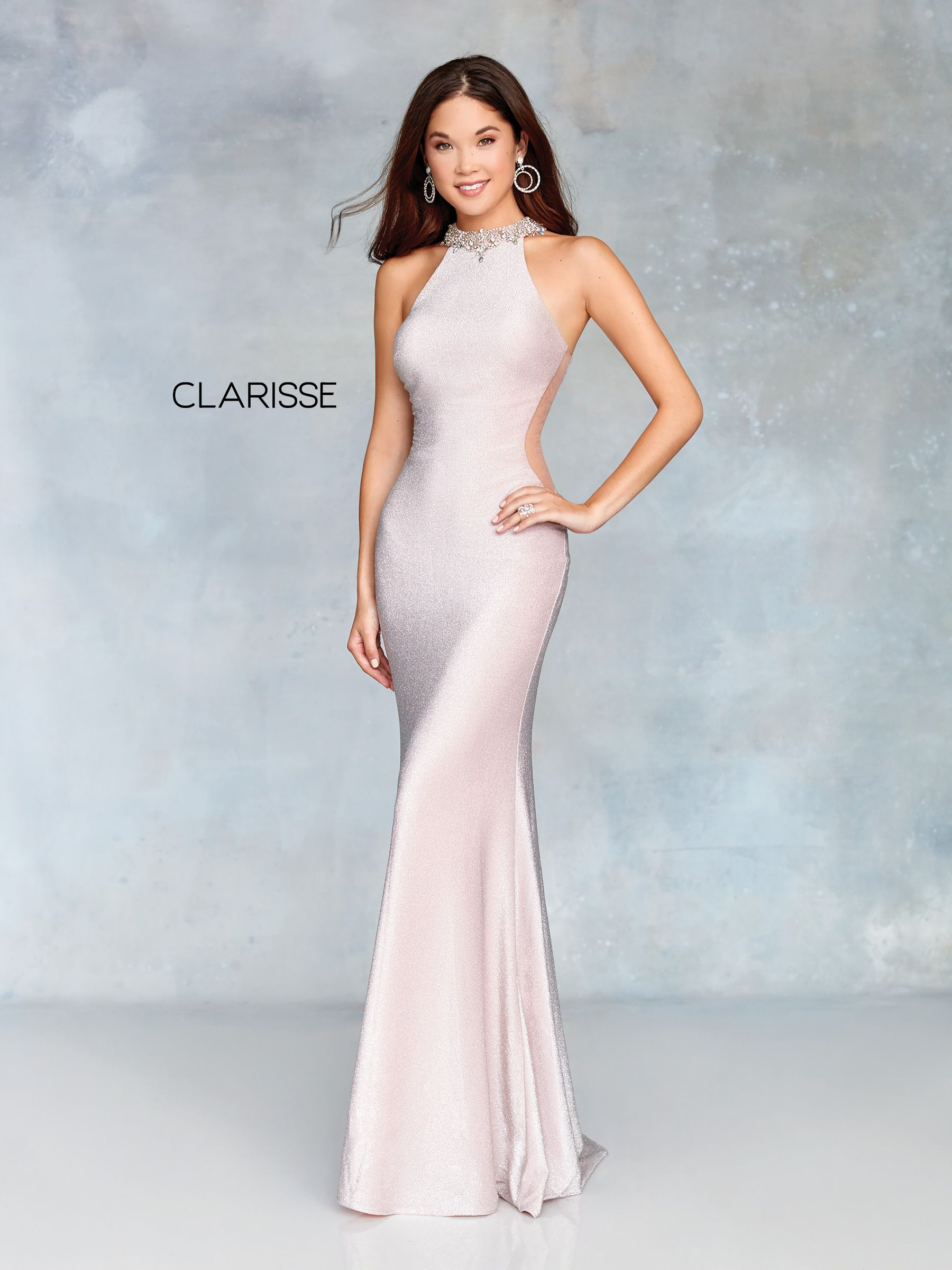 3745 - Blush shimmer jersey prom dress with a beaded detail halter neck and  an open back 7e06a2ddf530