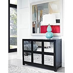 L Powell Mirrored 6 Drawer Black Wood Console