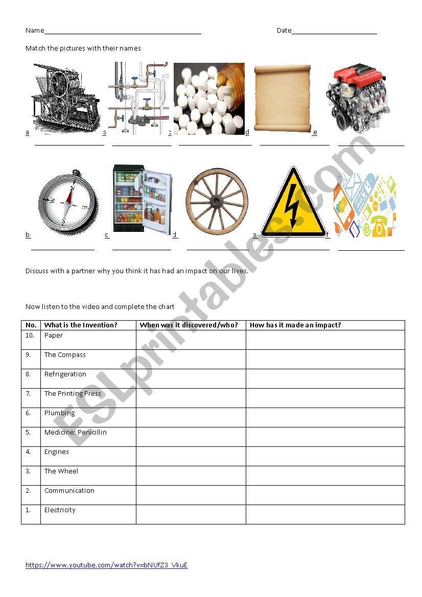 inventions listening comprehension ESL worksheet by