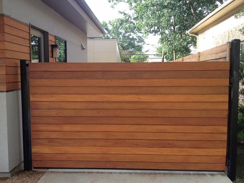 Wood Iron Gate Horizontal Contemporary Modern Gate Wood Gate