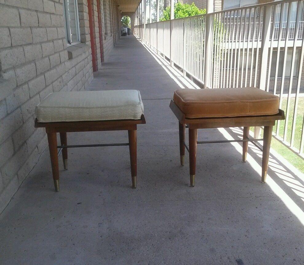 Pair Mid Century Modern Paine Furniture Company Danish Stools Bench 1960 U0027  ...
