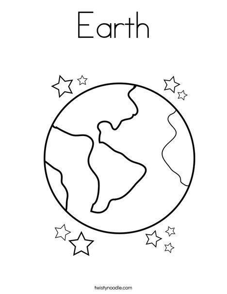 Earth Coloring Page - TwistyNoodle.com | Solar System | Pinterest ...