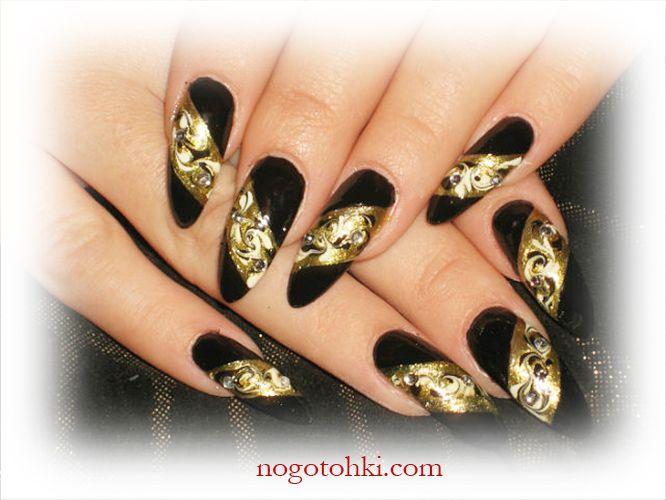 Ногти дизайн черные с золотом