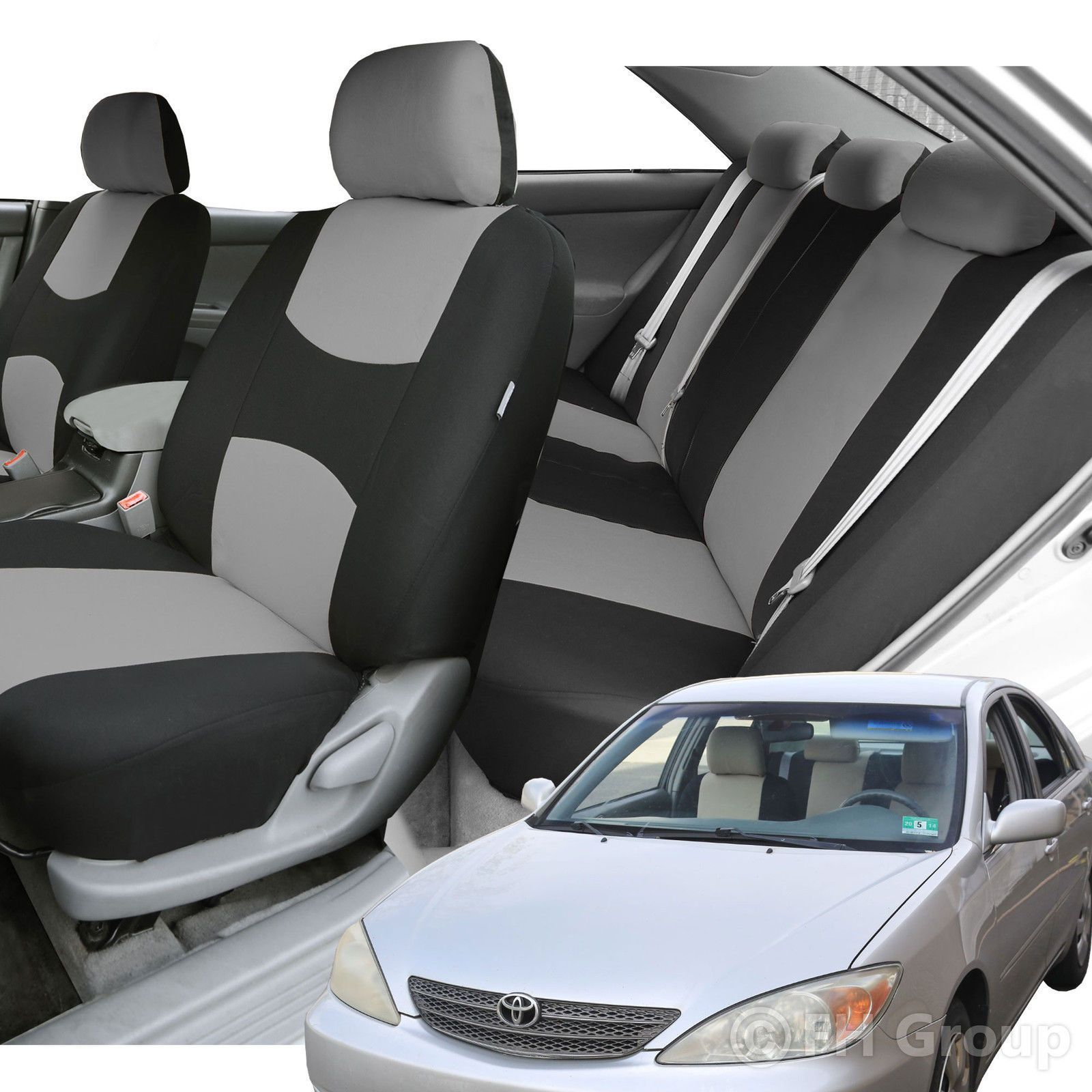 Car Seat Covers Gray Black Full Set For Auto W/Steering