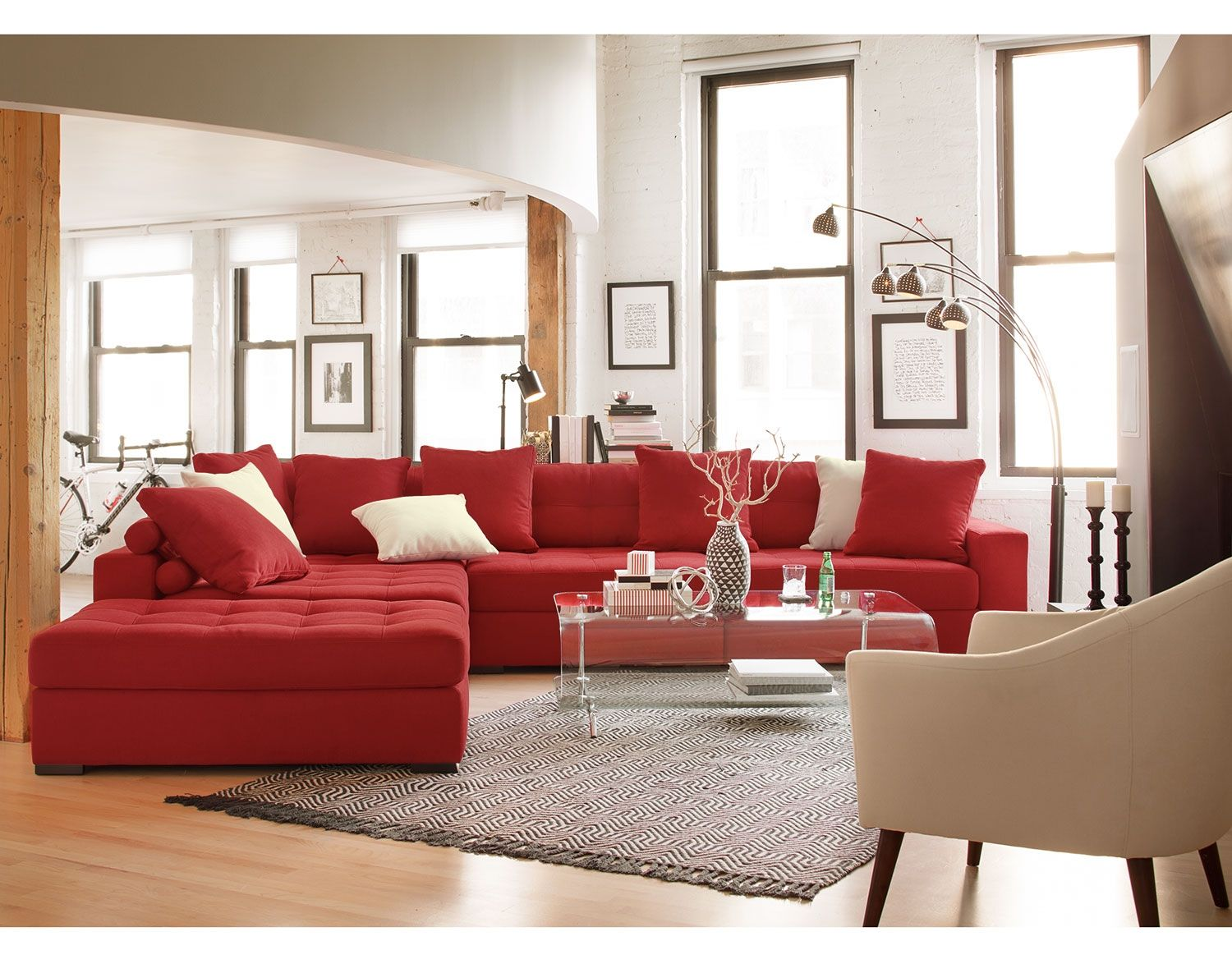 modern red leather sectional sofa value
