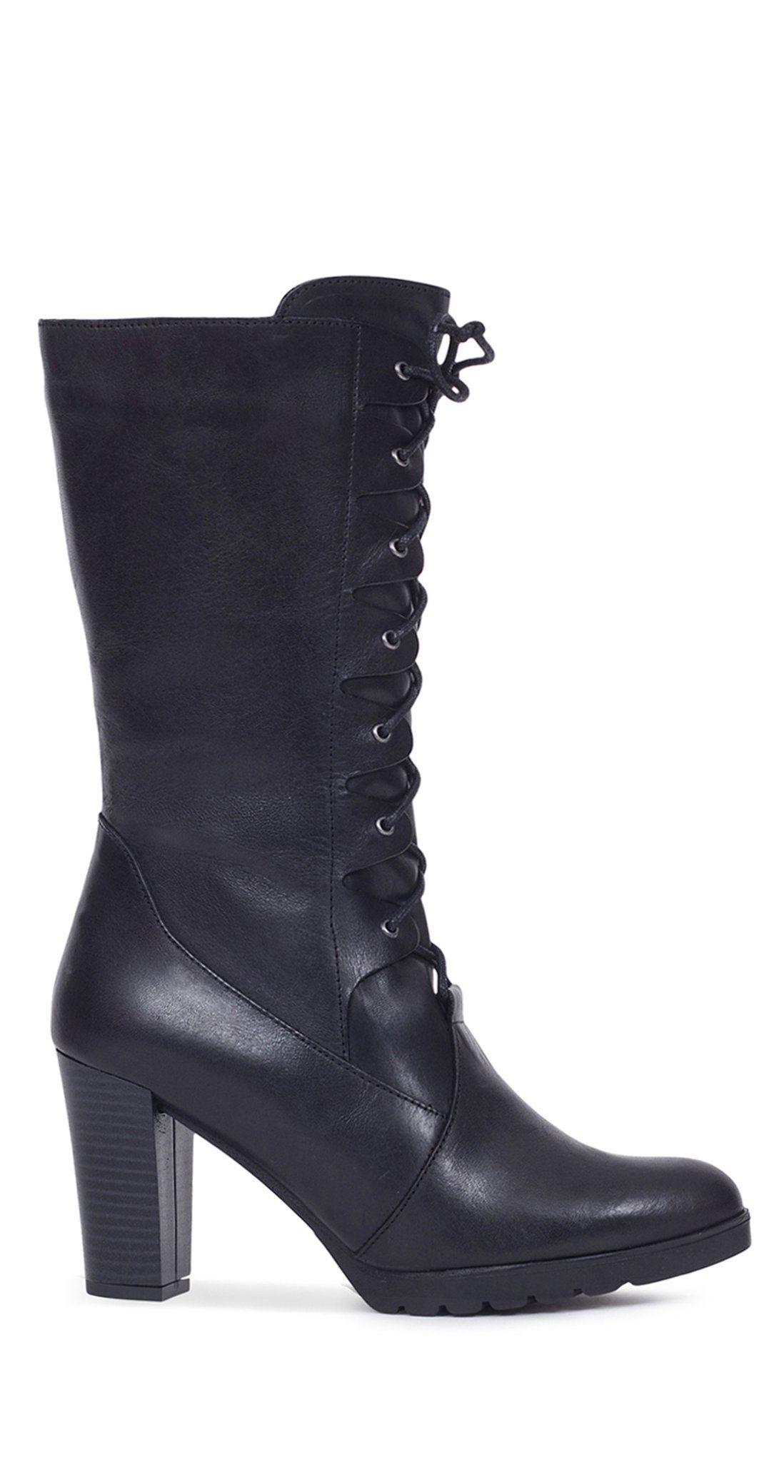 Bota alta de mujer NEGRA con cordones – Zapatos miMaO Online – miMaO  ShopOnline 123fe180d7e6e