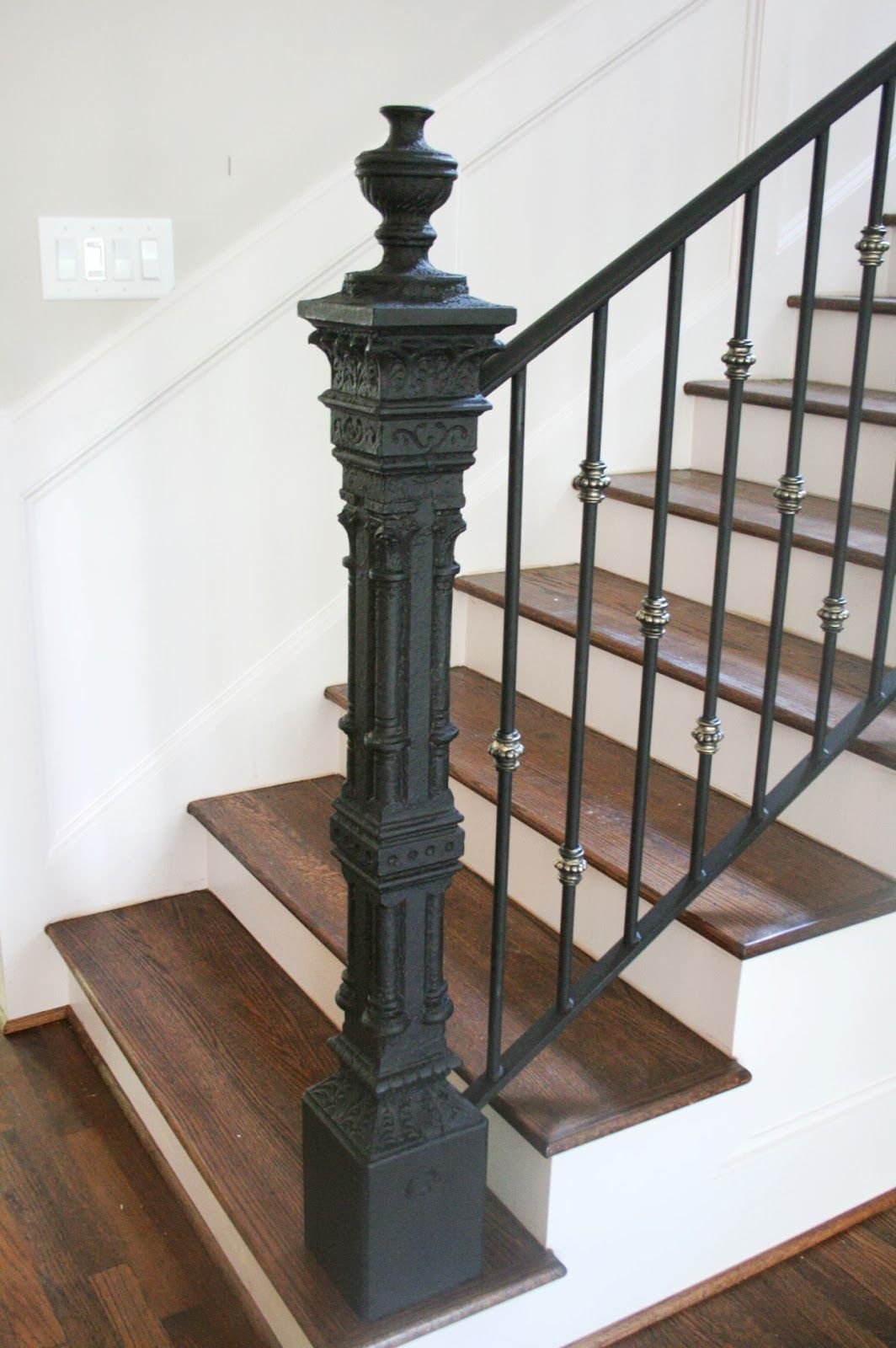 Iron Newel Post Wrought Iron Stair Railing Iron Stair   Wrought Iron Newel Post