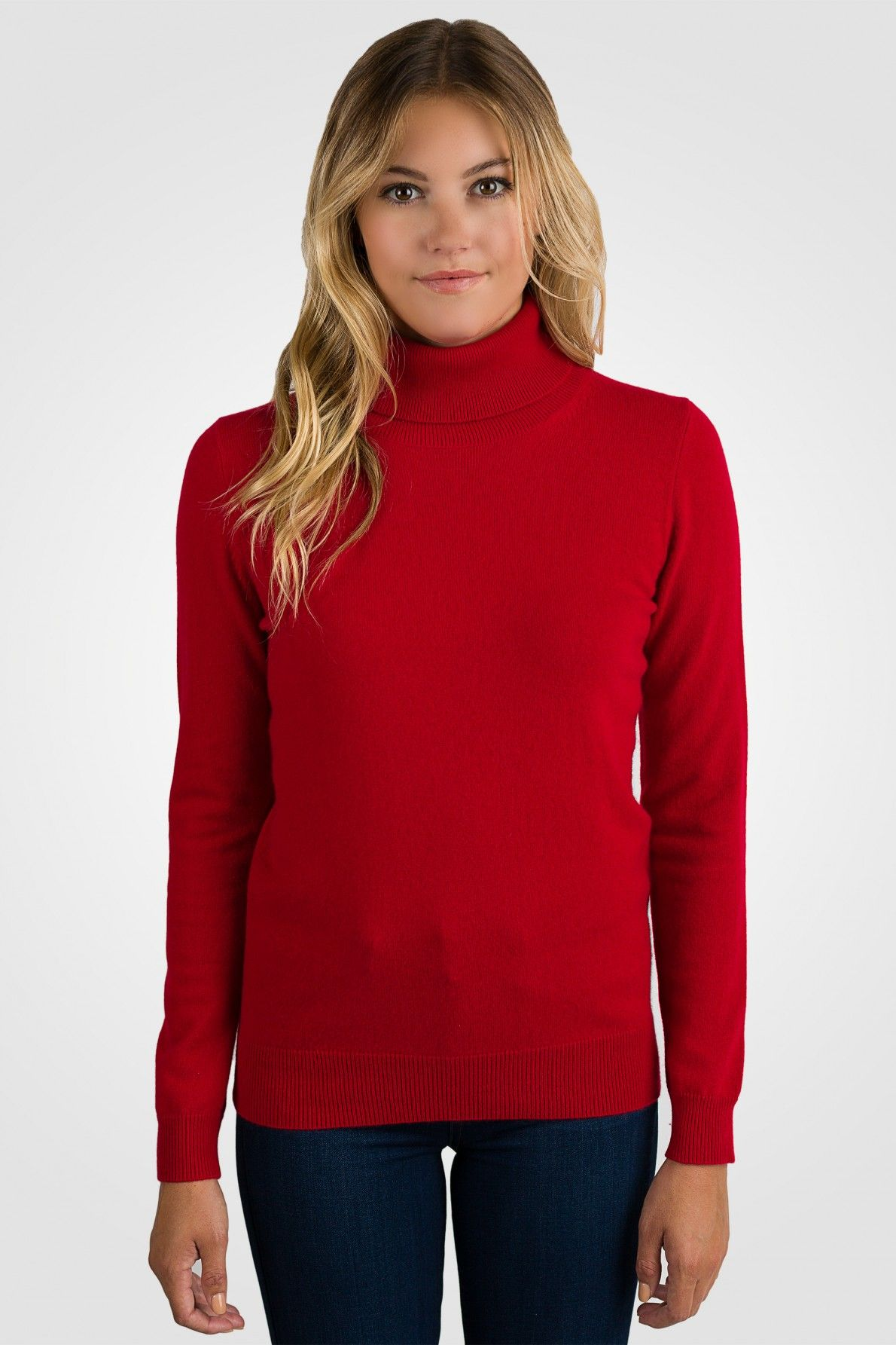Red Cashmere Long Sleeve Turtleneck Sweater [ JCashmere.com ] | J ...