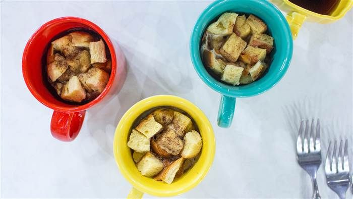 Food hacks for breakfast, lunch and a snack from Katie Quinn, French toast in a mug
