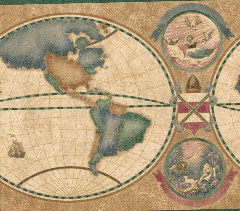 WORLD MAP, EXPLORATION, GREEN TRIM Wallpaper bordeR Wall