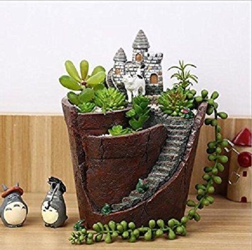 Fairy Garden Castle Planter Pot Succulent Cactus Decorative Flower Pot Hang  Mini