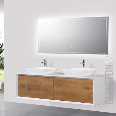 Badmöbel 140 cm Eiche LED Spiegel Aufsatzwaschbecken