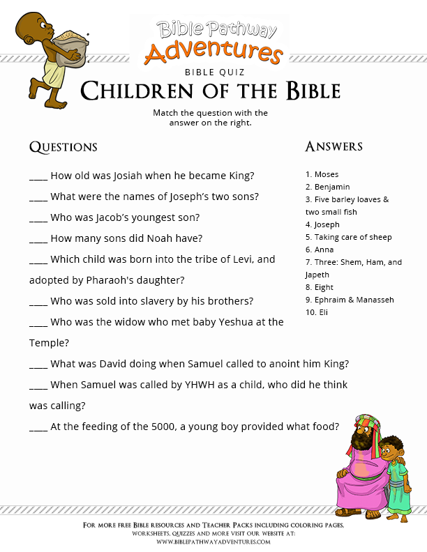 image regarding Printable Bible Trivia Games identified as Printable Bible Quiz: Youngsters of the Bible Bible Quiz