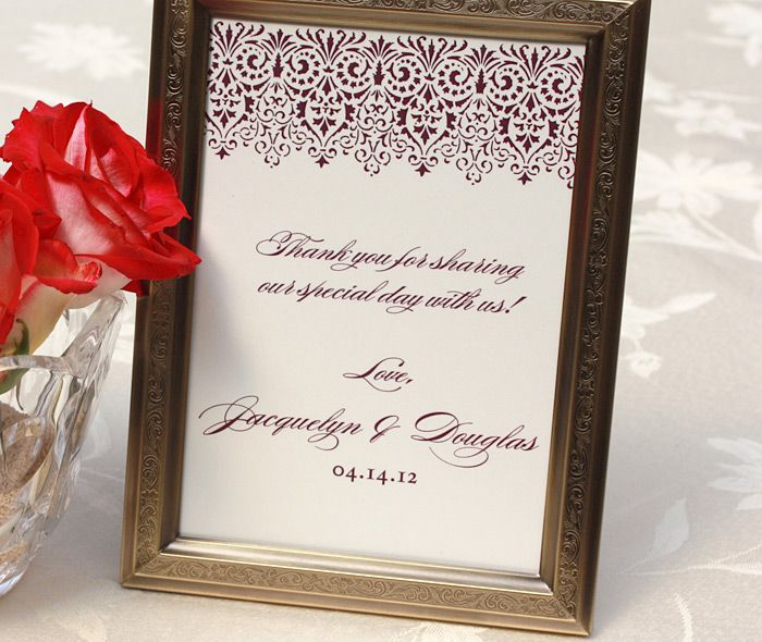 elegant wedding reception framed thank you sign with lacy border | Invitations by Ajalon | invitationsbyajalon.com