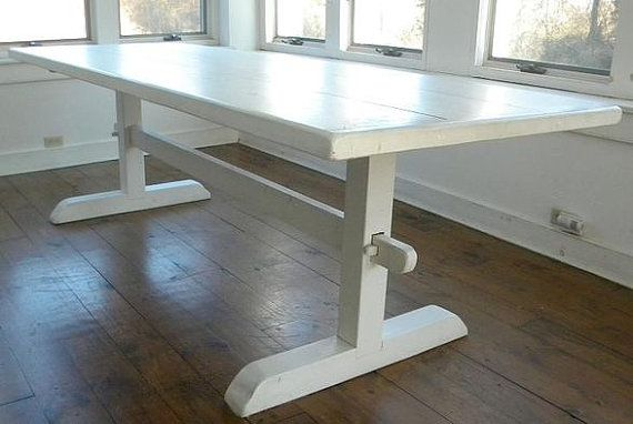 ON SALE FT Vintage Farm Harvest Trestle Dining Table Shabby Chic - Pottery barn trestle dining table