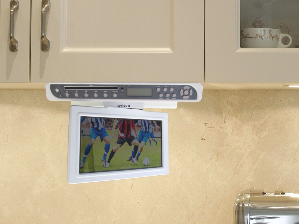 Great Addition For Your Kitchen The Restyled Invisua 10 Flipdown Under Cabinet Tv With Dvd Player Gloss Whit Tv In Kitchen Under Cabinet Under Cabinet Tv