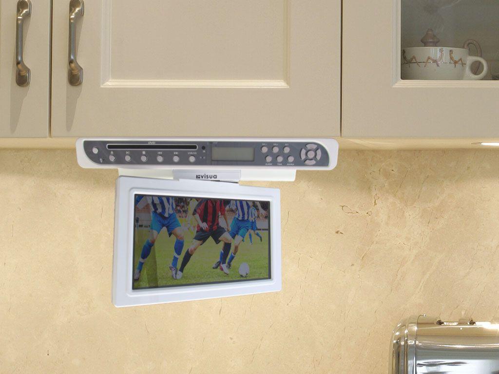 Interior Under Kitchen Cabinet Tv 10 gloss white flipdown kitchen tv with dvd player visua tvunder cabinetdvd