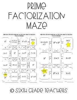 Prime Factorization Maze Activity Prime Factorization Worksheet Prime Factorization Free Math Worksheets